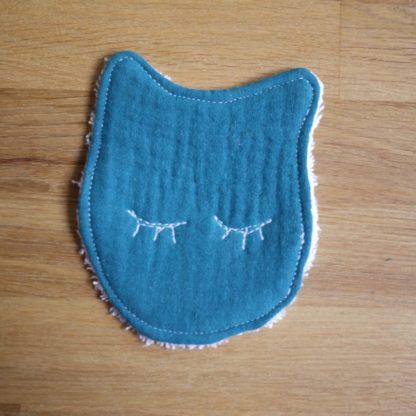 Joli lingette en forme de chat bleu paon