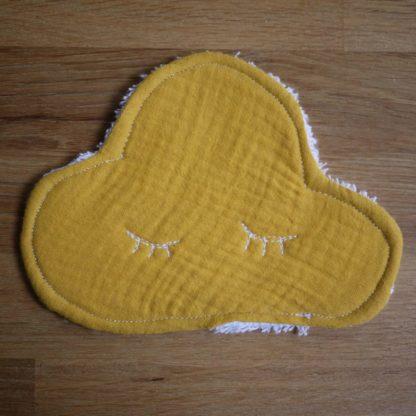 Lingette de grande taille forme de nuage couleur jaune