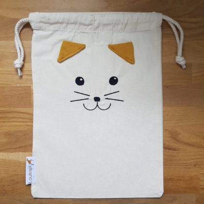 pochette coton avec tête de chat