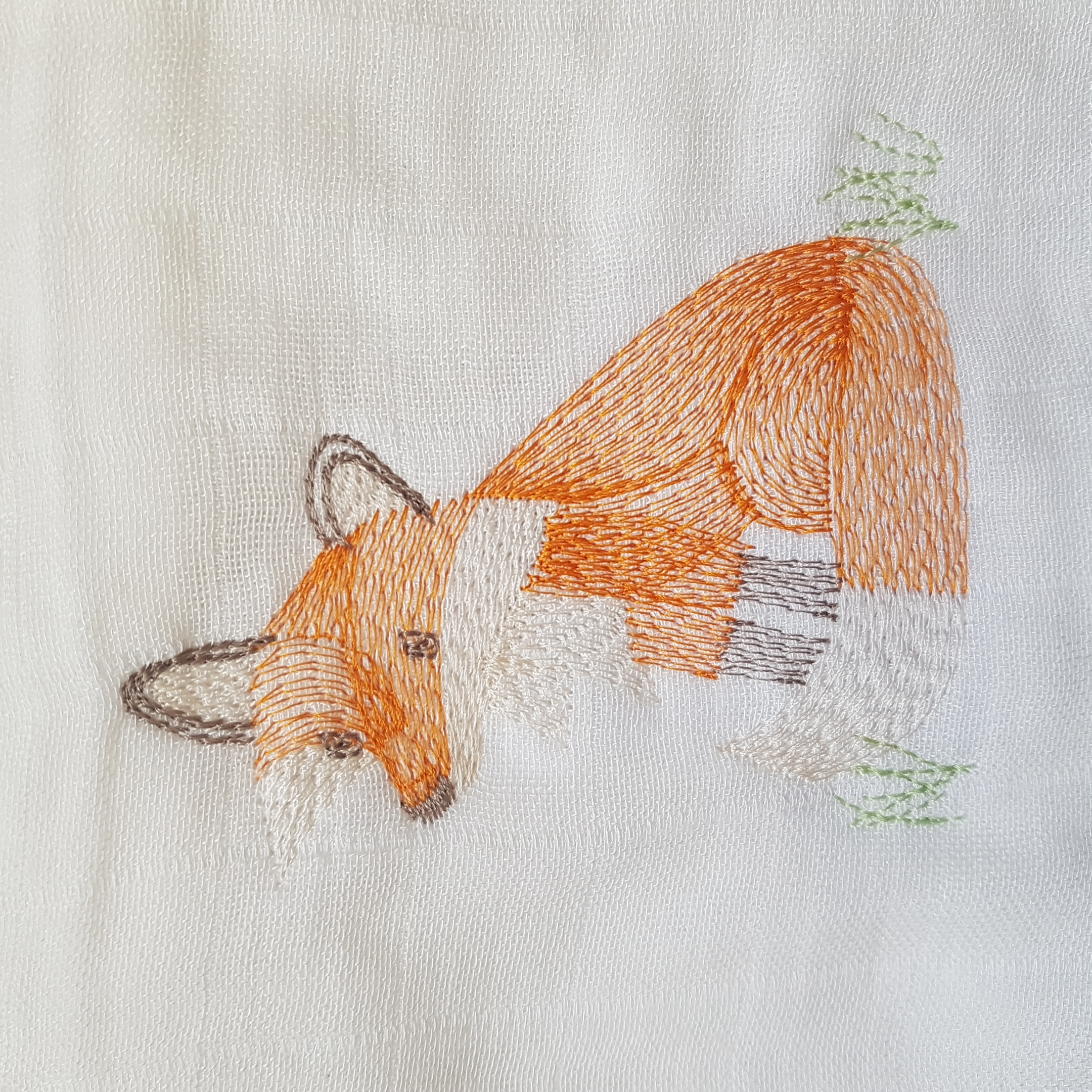 Un joli petit renard brodé