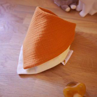 Bavoir bandana unisexe gaze de coton orange