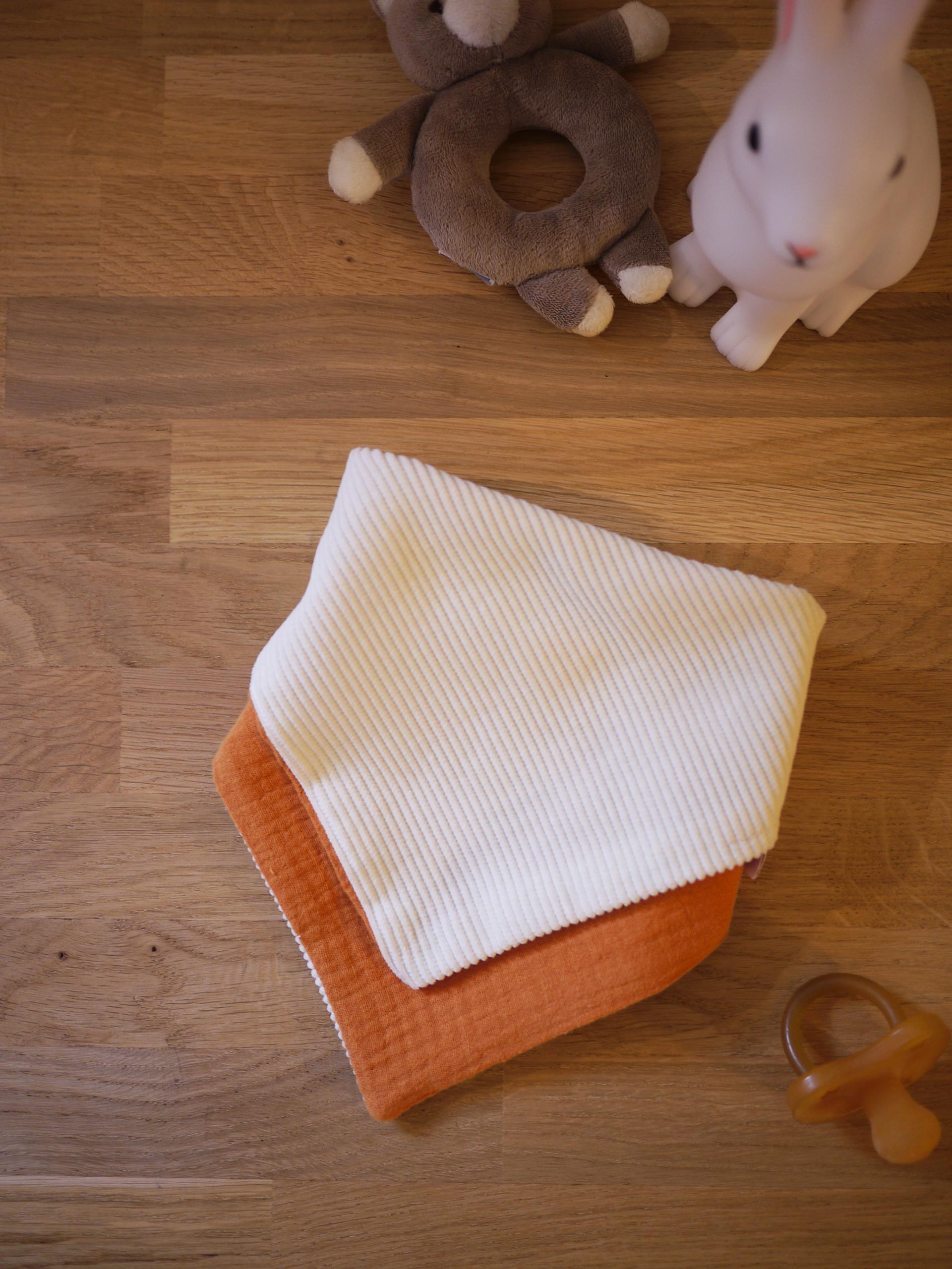 Bandana plié gaze de coton orange