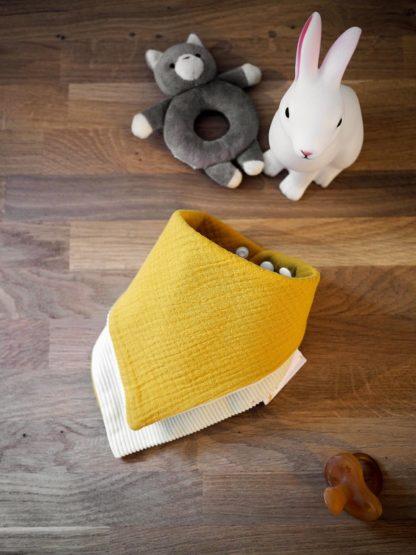 Bavoir bandana unisexe gaze de coton moutarde