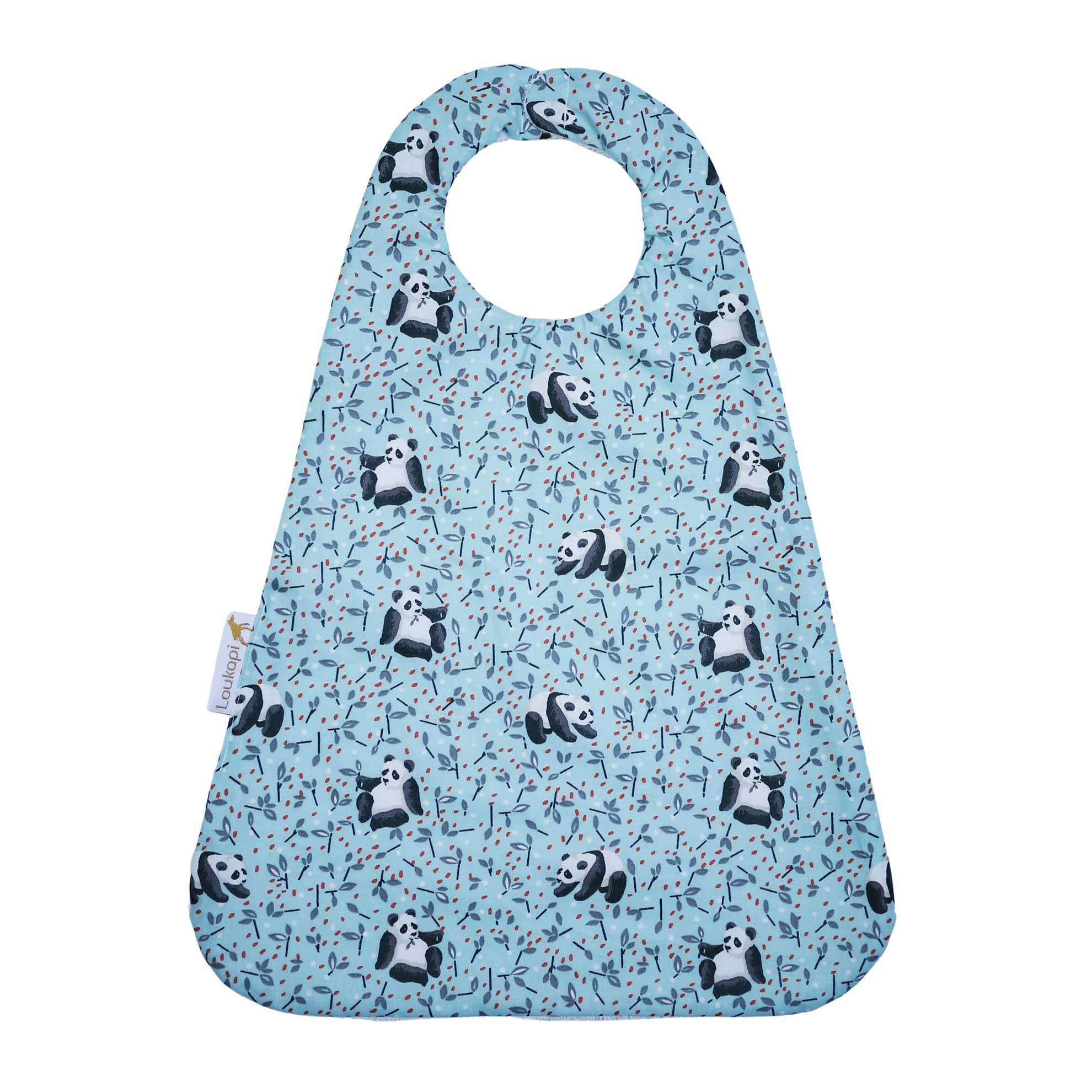 Serviette magnétique panda bleu en coton enduit