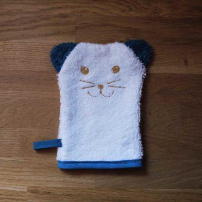 Gant de douche enfant animal bleu paon